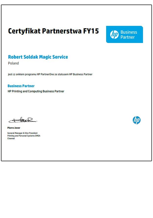 certyfikat HP dla magicservice